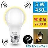 Luxon LED電球 ledセンサーライト 金口E26 搭載レーダー探知機付自動点灯 電球色(5W)40w形相当