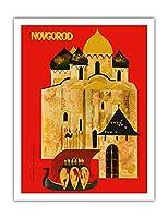 ノヴゴロド、ロシア - 古いロシア建築 - ビンテージな世界旅行のポスター c.1960s - アートポスター - 51cm x 66cm