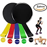 Gliding Discs Core Sliders and Resistance Loop Bands for Exercise Core Physical Therapy Sports Fitnes Set. Rapid Strength Training Dance Workout Pilates Muscle Shaping and Yoga