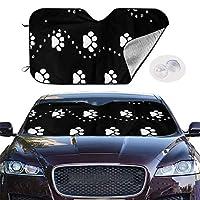 ブラックドッグポウオート車用サンシェード フロントシェード ガラス Car Sunshade 車用遮光断熱 UV 紫外線対策折り畳み カーフロントカバー日焼け防止汎用車用品