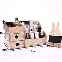 WTL かご?バスケット 木製化粧品収納ボックス破片仕上げボックス (色 : D, サイズ さいず : 28*18*16cm)