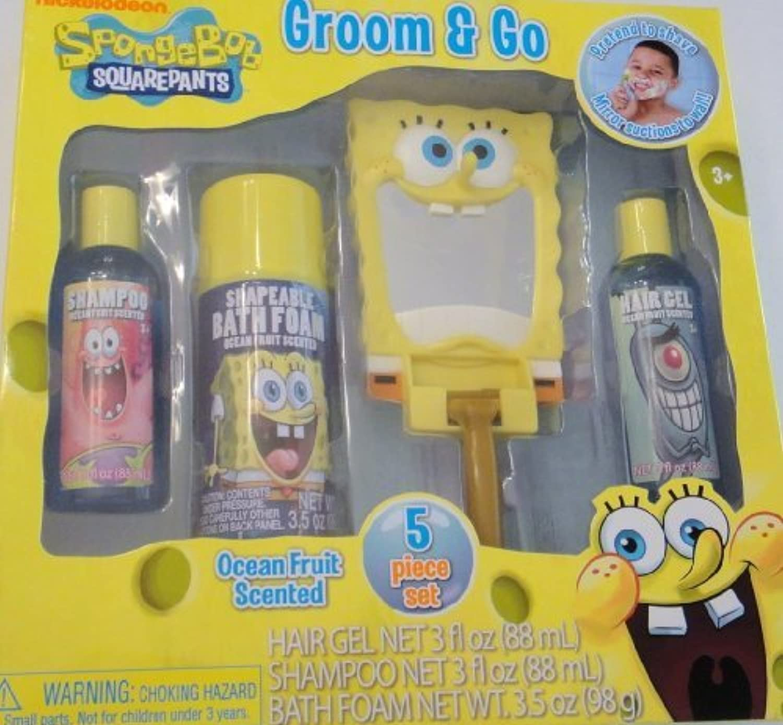 Spongebob Squarepants Groom & Go 5 Piece Bath Set - Shampoo, Bath Foam, Hair Gel, Mirror, Play Razor by MZB Accessories [並行輸入品]