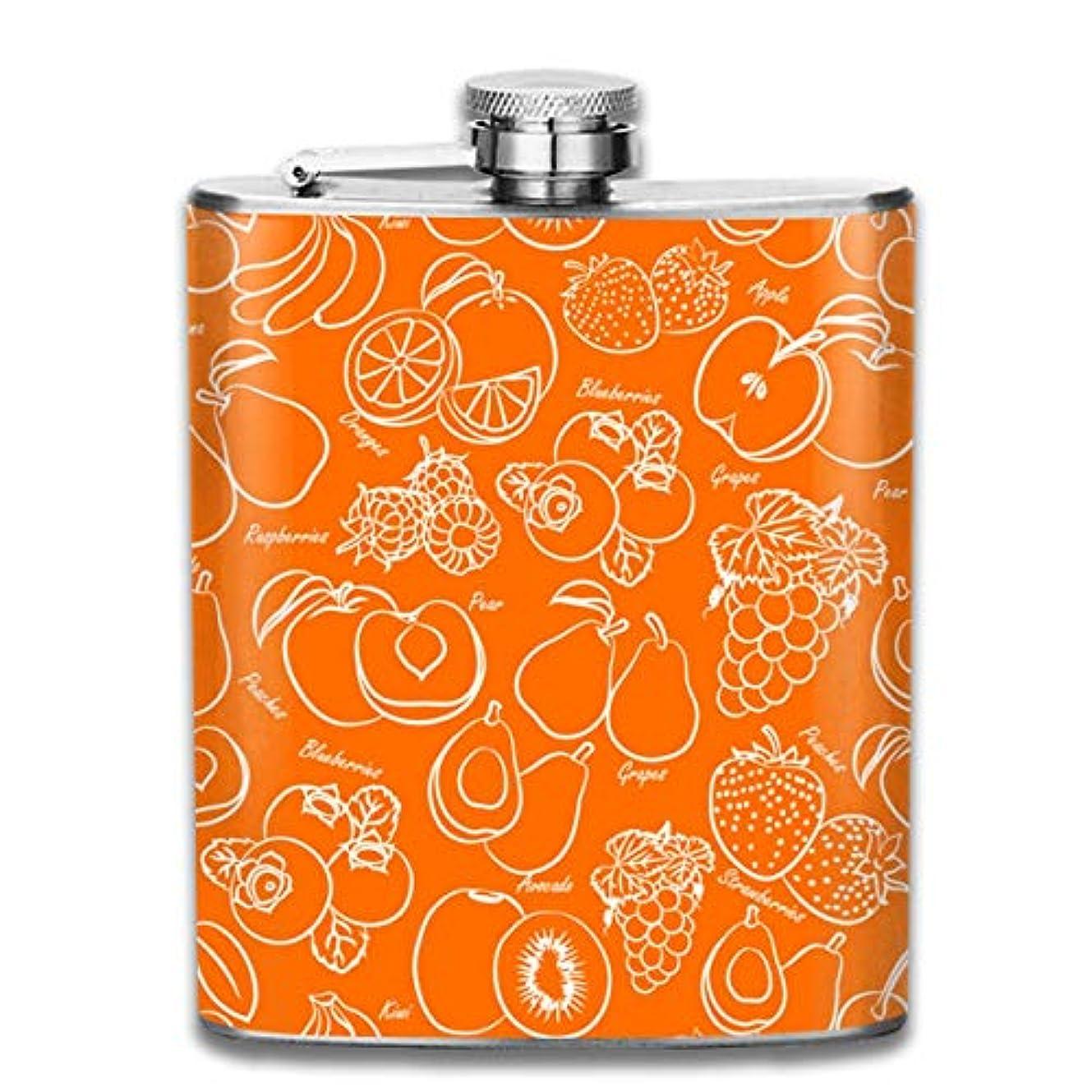 口述する広く不信果物フラスコ スキットル ヒップフラスコ 7オンス 206ml 高品質ステンレス製 ウイスキー アルコール 清酒 携帯 ボトル