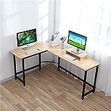 コンピューターデスク - CrazyLynX L字型コーナーデスク PC ワークステーションテーブル モニタースタンド付き PCラップトップ用 自宅 オフィス 木製 金属 (ピーク)