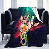 Blanket Nebula Giraffe Painting Throw Blanket Ultra Soft Velvet Blanket Lightweight Bed Blanket Quilt Durable Home Decor Fleece Blanket Sofa Blanket Luxurious Carpet for Men Women Kids