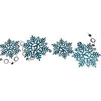 【ノーブランド品】雪の結晶 飾り クリスマスツリーの飾り ホーム お祭り 装飾品 ガーランド 1.8m 全5色 - 青
