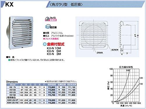 西邦工業 SEIHO KX125 外壁用アルミ製換気口 (フラットグリル) 角ガラリ型 低圧損