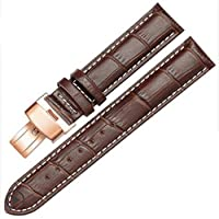 Genuine Leather Rose Gold Quick Release Clasp Wrist Watch Bands Strap Replacement for Gents Mens (22mm, Brown & White Line)