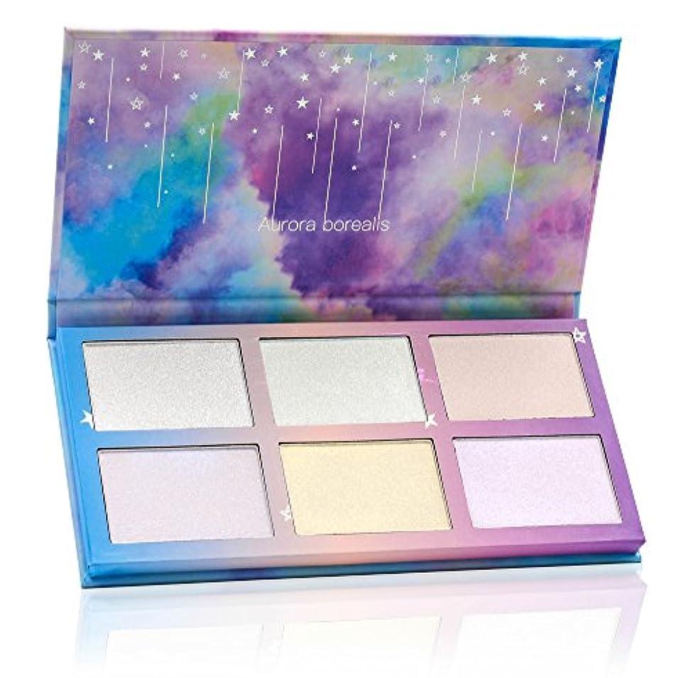 取り付け繰り返すに渡ってTZ Cosmetix - Aurora Borealis 6色の高い光、立体的に顔を修飾し、局部的に明るくする - ソフトクリーム状の粉の塊、顔を明るくするメイクのパレット-虹の星のパッケージ - ホログラフィックメイク...