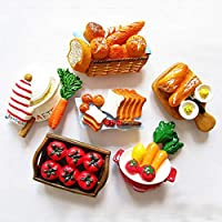 LPZM 漫画冷蔵庫マグネットシミュレーション食品パン野菜ステレオ樹脂磁気冷蔵庫マグネット