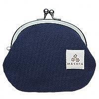watona 帆布がま口 3.3寸丸形小銭入れ (ミッドナイトブルー)