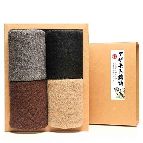 ASAMOTO 靴下 メンズ 冬 40%メリノウール混 厚手 裏起毛 防寒防臭 24-28cm 4足セット