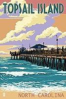 topsail島 ノースカロライナ州 pier and sunset 9 x 12 collectible