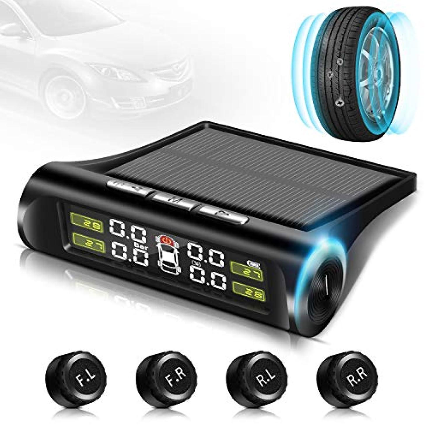 定期的に勇気一節019最新版 タイヤ空気圧センサー タイヤ空気圧モニター TPMS 気圧温度 即時監視 太陽能/USB二重充電 ワイヤレス 4外部センサー 振動感知 取り付け簡単