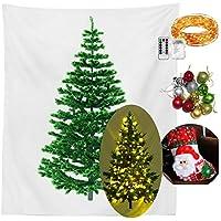 クリスマスツリー タペストリー LEDライト&オーナメント4色 付き 12個入り 北欧風 イルミネーション 壁 階段 玄関 飾り4種類 (Cセット)