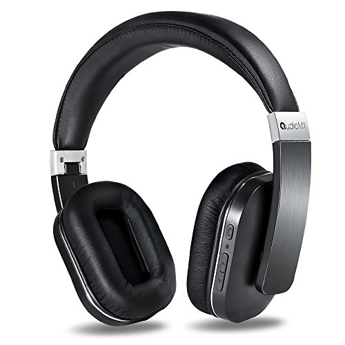 AudioMX Bluetooth 4.0 ワイヤレス 密閉型 ヘッドホン 折りたたみ式 apt-X ハンズフリー通話 ヘッドフォン (20時間連続稼働) 黒