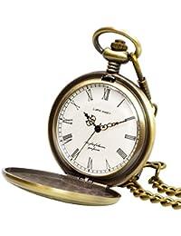 【リトルマジック】GW シンプル アンティーク 懐中時計 メンズ レディース 【正規品】 チェーン 蓋付き 時計 ローマ数字 ナースウォッチ フック (アンティークゴールド白文字盤)