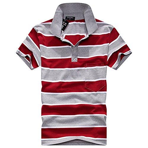 シーリアの衣料品店2016メンズポロシャツストライプゴルフシャツ (XXL, F04)