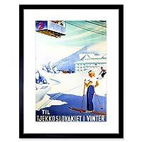 Travel Winter Sports Czechoslovakia Snow Ski Dutch Framed Wall Art Print 旅行冬スポーツ雪オランダの壁