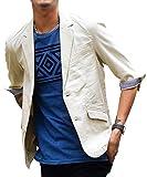 ジョーカーセレクト(JOKER Select) ジャケット メンズ テーラードジャケット 綿麻 7分袖 サマージャケット L ベージュ(54)