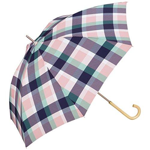 w.p.c(WPC) 【長傘】【軽くて丈夫で持ちやすい】カラーチェック (雨傘/レディース)【ピンクネイビー/58】