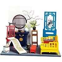 DYNWAVE ドールハウス 3Dパズル 中華風 建物 ルーム ミニチュア DIY 木製 手作り玩具 組み立て 1/12 全5種 - B