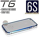 iPhone6s ケース T6 メタルバンパー 高品質アルミ製 カメラレンズガード・ストラップホール付(iPhone6s, ロイヤルブルー x シルバー)