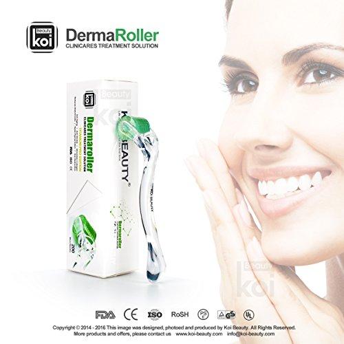 ダーマローラーKoi BeautyDerma Roller フェイスローラー ボディーローラー 美容ローラー チタン合金200マイクロニードルにきび  妊娠線 セルライト リンクル しわ 凸凹クレーター肌に スキンケア傷跡製品美容機器1.0mm
