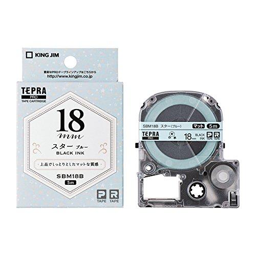 キングジム テプラPRO テープカートリッジ マットラベル(模様) 18mm スター(ブルー) SBM18B