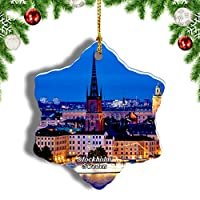 Weekinoスウェーデンストックホルム都市景観クリスマスオーナメントクリスマスツリーペンダントデコレーション旅行お土産コレクション陶器両面デザイン3インチ