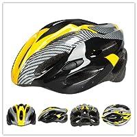 新型 軽量 自転車ヘルメット サイクルヘルメット ロードバイク・マウンテンバイク・クロスバイク・スポーツバイクに最適です! 大人用 通勤や通学にも 全3色 カーボン色 54~60cm カーボンイエロー 並行輸入品