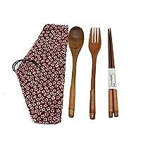 木製箸セット 木製 箸 スプーン フォーク 箸袋付き 4点セット ブラック精品天然漆 (赤)