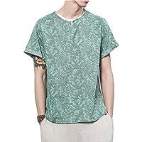 Spinas(スピナス) メンズ Tシャツ 半袖 ペイズリー柄 フェイクレイヤード 春 夏 全2色 ( ブルー グリーン)