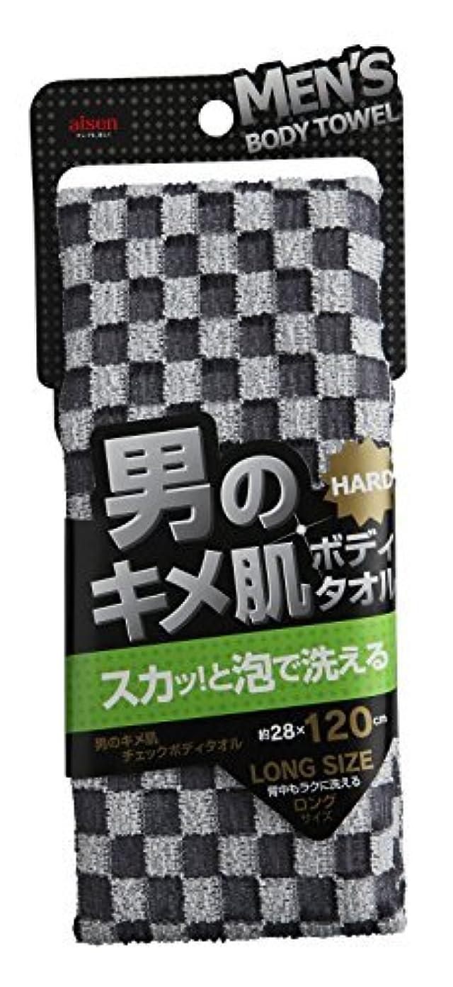 インタラクション分割タバコアイセン工業 男のキメ肌 チェックボディタオル ブラック BY252 × 240個セット