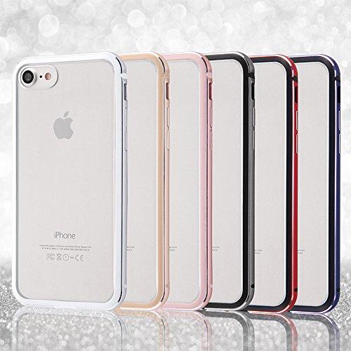 レイ・アウト iPhone8 / iPhone7 ケース アルミバンパー+背面パネル(クリア) レッド RT-P14AB/RM