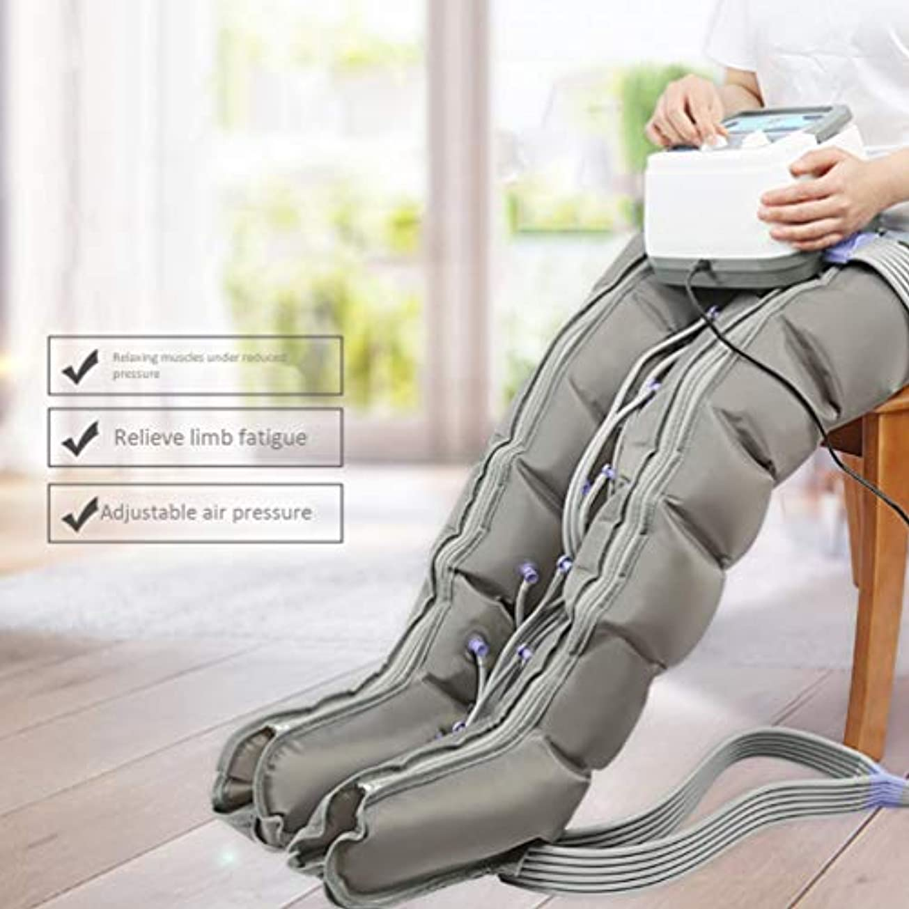 認可近傍驚かす空気圧縮脚マッサージ機足とふくらはぎの足の太もものマッサージでふくらはぎの循環ブースターは腫れや浮腫の痛みを助ける(6つのキャビティ)