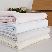 昭和西川 世界三大綿 新疆綿 使用 コットン ブランケット シングル 140×200cm 綿毛布 (グレー)
