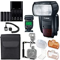 Canon Speedlite 600EX II-RT 高速カメラフラッシュ、内蔵ラジオ送信ワイヤレス機能+スピードライトケース+Lフラッシュブラケット+TTLコード+単三電池4本&充電器+フラッシュディフューザー。