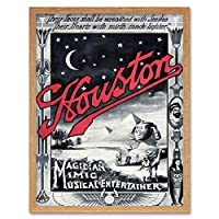 Houston The Magician Vintage Advertising Art Print Framed Poster Wall Decor 12X16 Inch 魔術師ビンテージ広告ポスター壁デコ