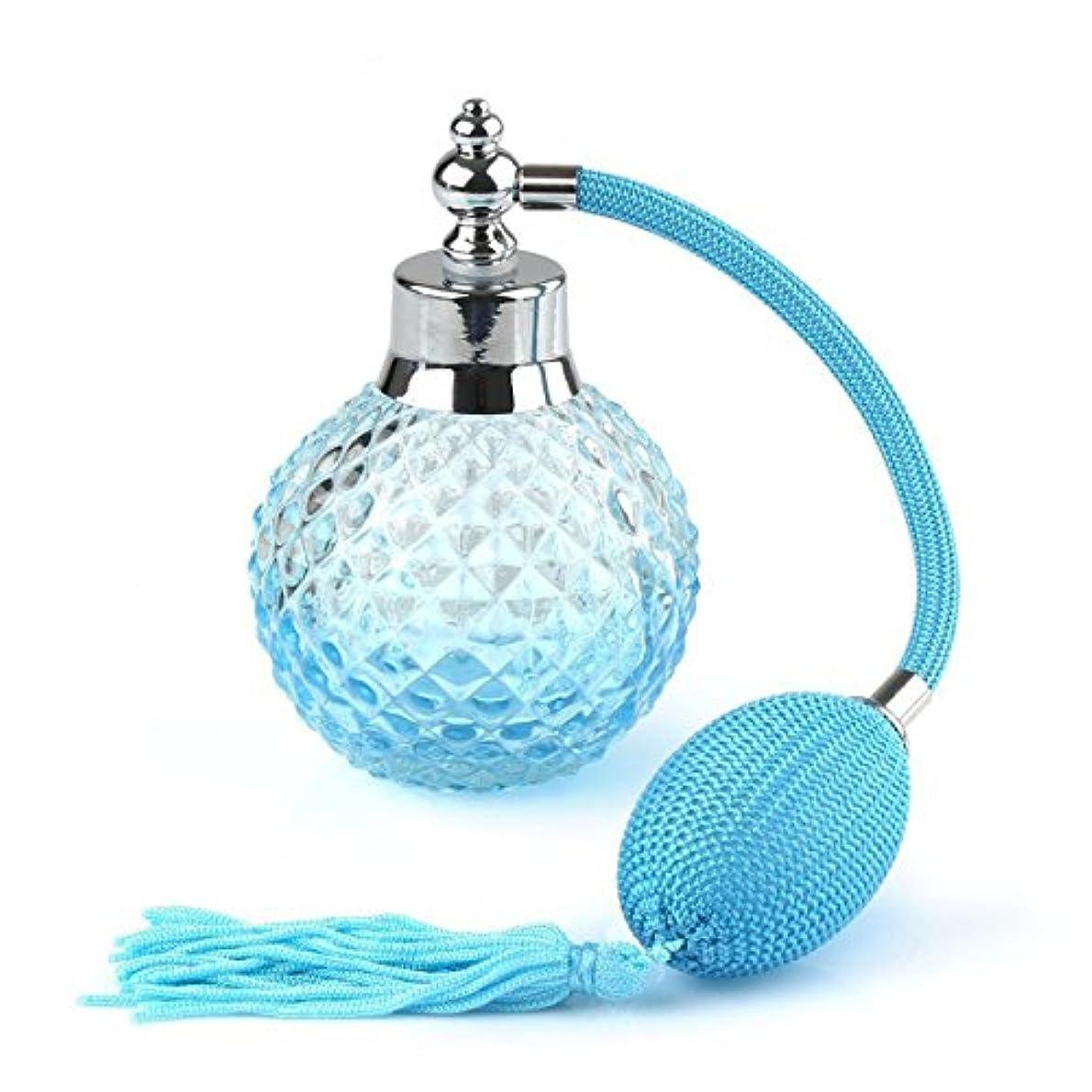 シェルター手錠発生ROSENICE クリスタル アトマイザー 香水瓶 スプレーボトル 100ml(ブルー)