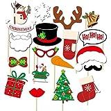 BinaryABCクリスマス写真ブース小道具、パーティーフォト小道具、クリスマス装飾、19個