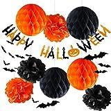 Tetote* ハロウィン 21点セット 装飾 飾り デコレーション ハニカムボール ボンボンフラワー 3D立体壁貼りこうもり ガーランド (オレンジ)s005-o