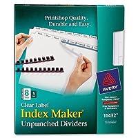 "lsk8u AveryインデックスメーカークリアラベルDivider–8–空白–8.50"" Divider幅X 11インチDivider長–Letter–5/ Pack–ホワイトタブ"