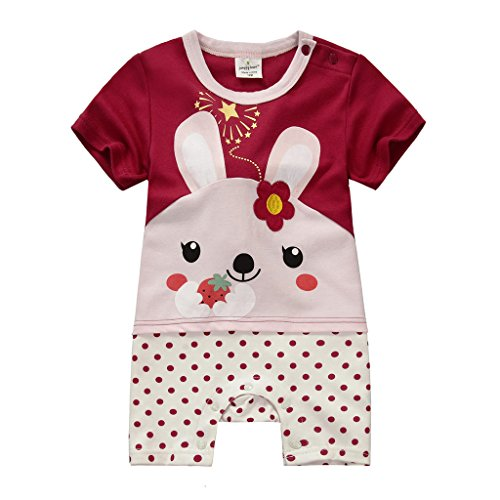 (ケイヨウ) JinYangベビー服 夏 コットン 動物たちのプリント 半袖 赤ちゃん カバーオール クラレット 9M