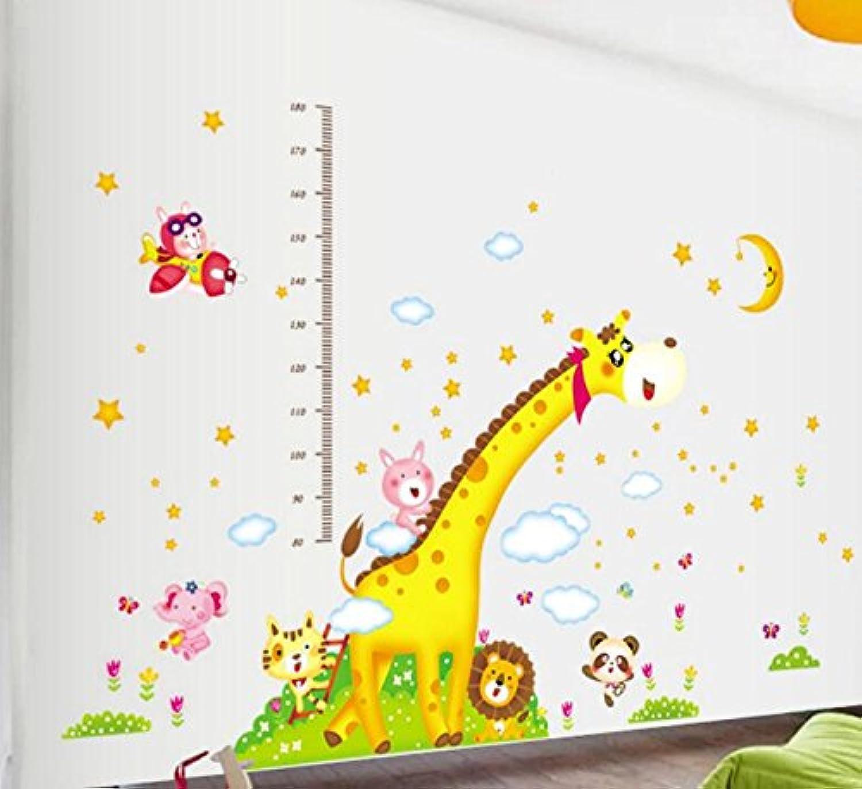 樱のホーム DIYかわいいキリン 高さの測定ステッカー 子供部屋取り外し可能な壁のステッカー(示すように)