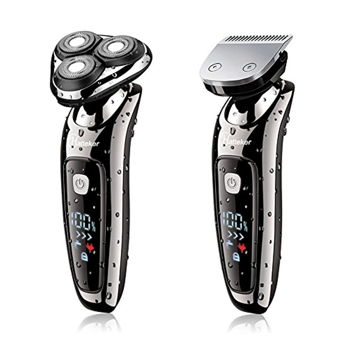 便宜投獄おなかがすいたHATTEKER 電気シェーバー メンズ ひげ剃り充電式·交流式 バリカン/ヒゲ トリマーヘッド付き LEDディスプレイ 水洗いOK