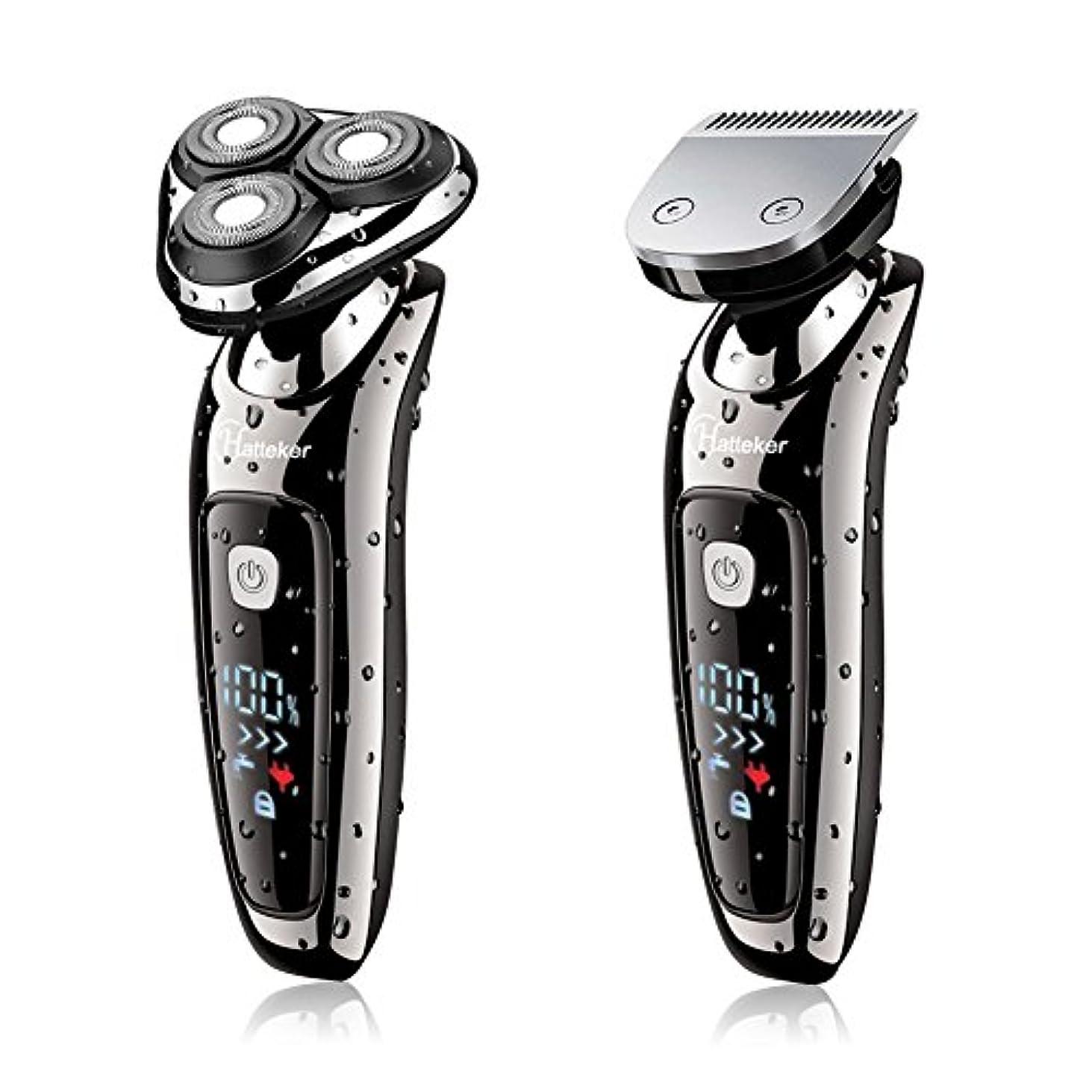 時刻表好み上がるHATTEKER 電気シェーバー メンズ ひげ剃り充電式·交流式 バリカン/ヒゲ トリマーヘッド付き LEDディスプレイ 水洗いOK