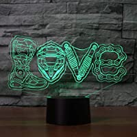 WZYMNYD 7色変更ビジュアルクリエイティブ3d led機械的愛モデリング常夜灯デスクランプ家の装飾オートバイファンルミナリアギフト