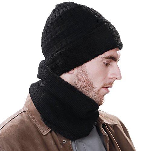(シッギ)Siggi ウール ニットワッチキャップ おしゃれ ビーニー 防寒帽子 ニット帽 帽子 ネックウォーマー 2点 メンズ 秋冬 フリーサイズ 黒