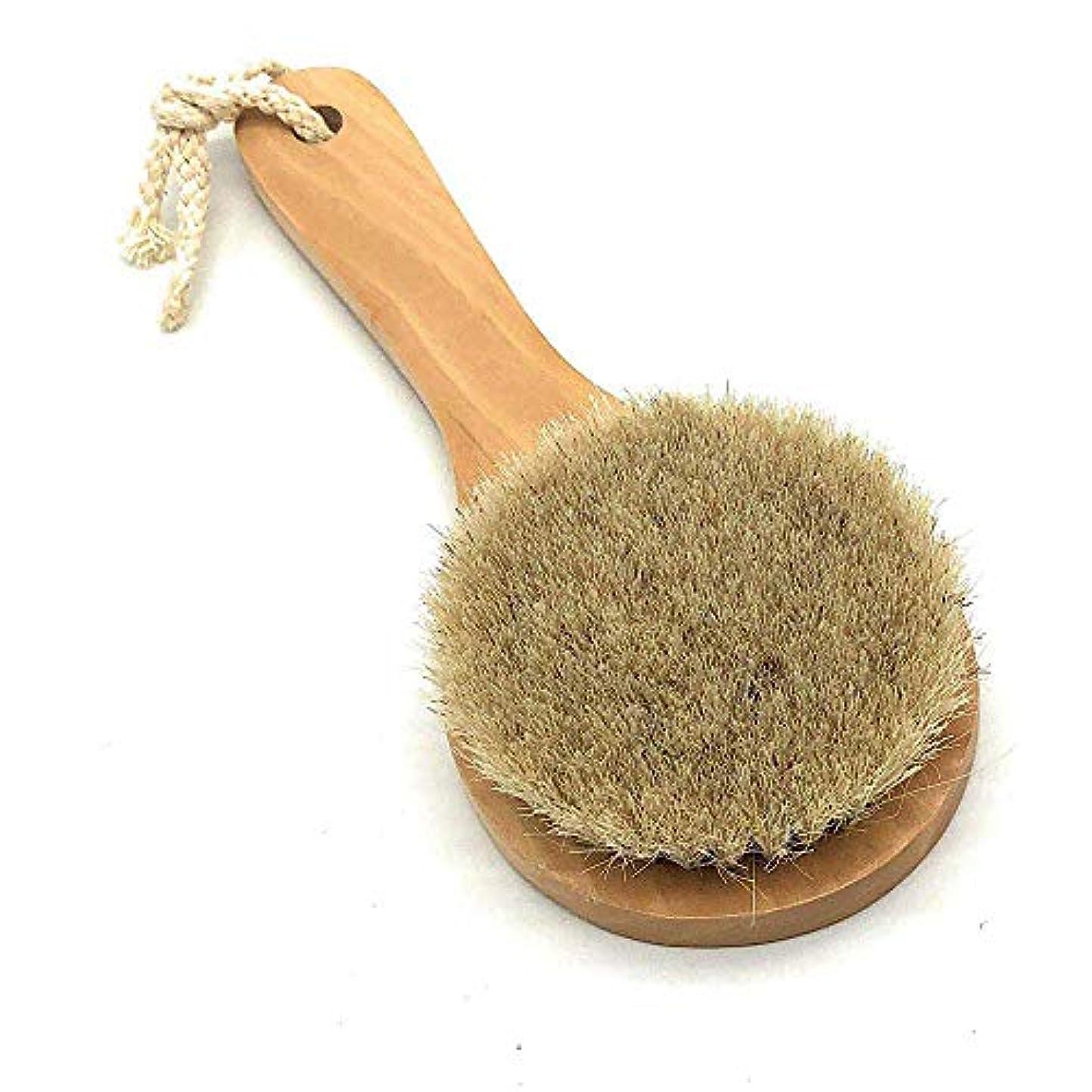 不器用セールスマン遺跡馬毛ボディブラシ 木製 短柄 足を洗う お風呂用 体洗い 女性 角質除去 柔らかい 美肌 (馬毛ボディブラシ)